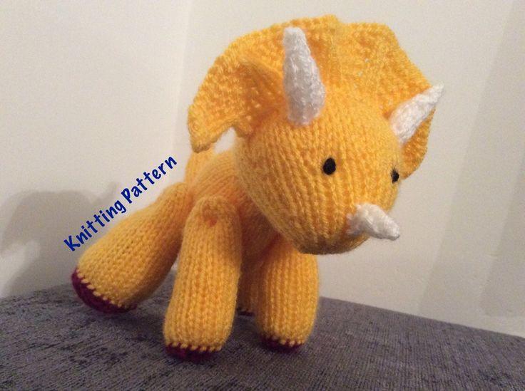 Beginner Knitting Patterns Stuffed Animals : Triceratops knitting pattern soft toy stuffed animal beginner intermediate di...
