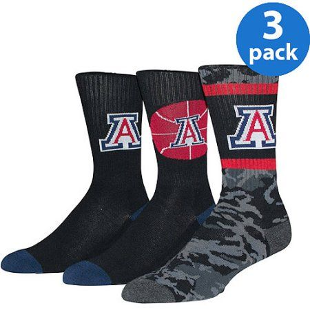 Univeristy of Arizona Men's Crew Sock 3 Pack, Size: 9-13, Black