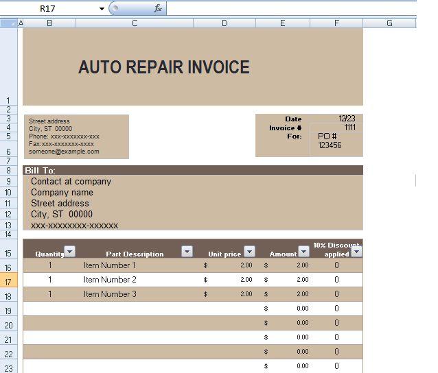 Auto Repair Invoice Template In Excel Format ExcelTemple Excel - auto repair invoice templates