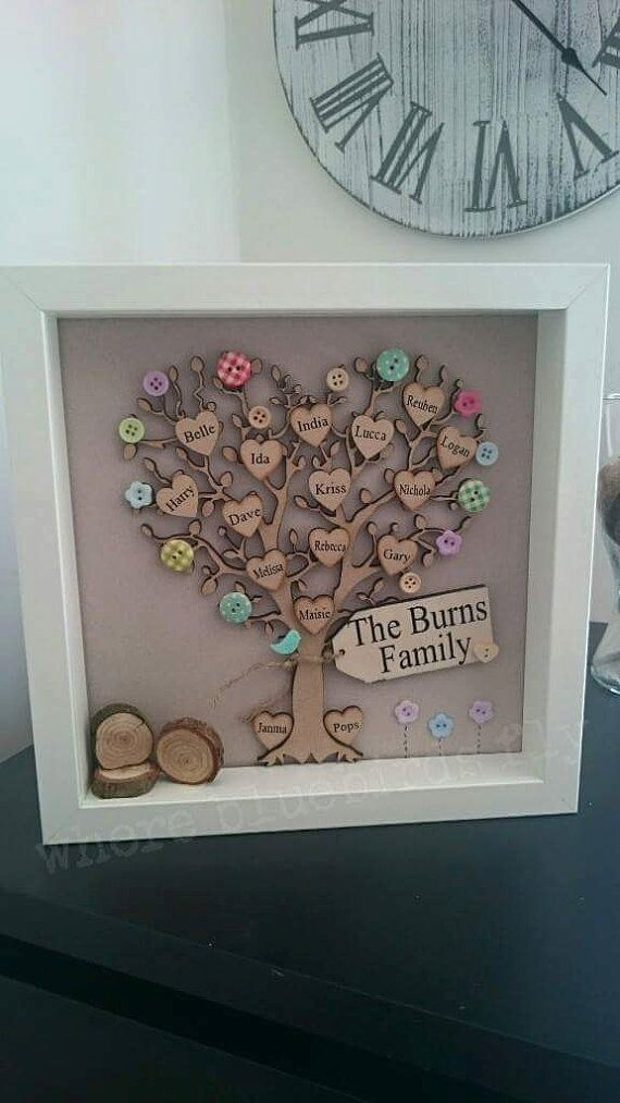 Framed family tree picture, personalised with wooden hearts and scrabble style tiles