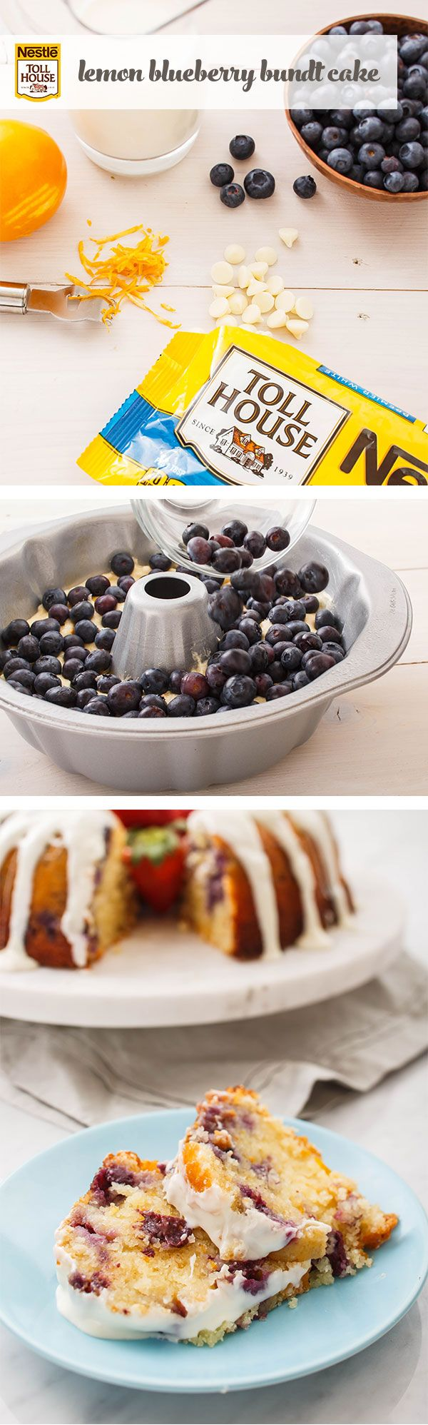 Serve up some spring-inspired flavors in this Lemon Blueberry Bundt Cake. To make this recipe, melt Nestle Toll House Premier White Morsels and combine with other ingredients—vanilla extract, buttermilk, grated lemon peel—and pour half of the batter into a prepared pan. Sprinkle in blueberries, then pour the remaining batter and bake. Once cool, drizzle with glaze for a tasty masterpiece that's sure to brighten days with fun, springtime flavors.