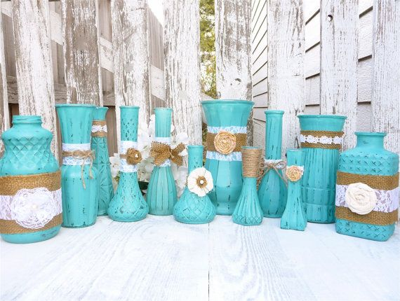 Turquoise RUSTIC, SHABBY CHIC Vases with Burlap and Lace, set of 12. Got one from a friend on xmas that was super cute!