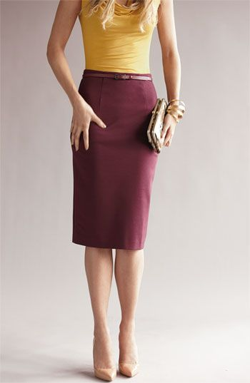Bright top, pencil skirt, and nude pumps
