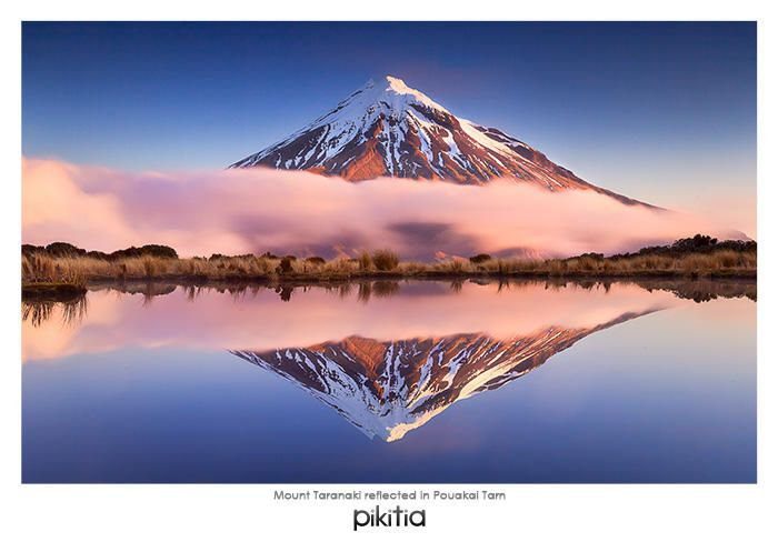 The beautiful Mount Taranaki reflecting in Pouakai Tarn. Another fantastic image from Everlook Photography that we are pleased to have recently added to the Pikitia range.