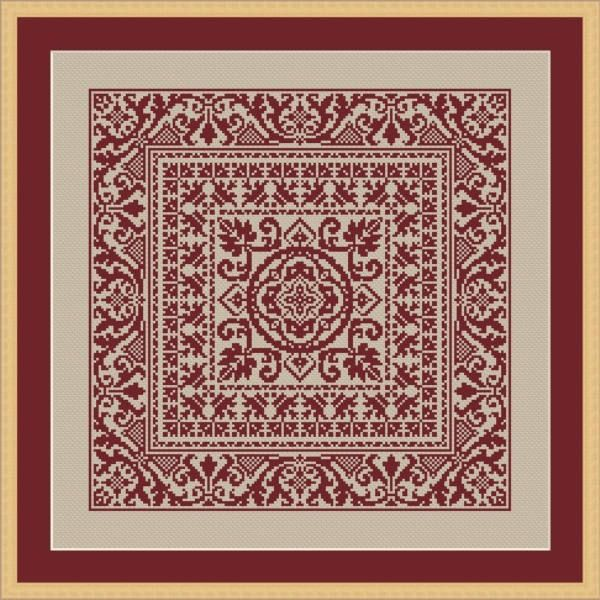 Cross-stitch pattern cushion big square medieval italian
