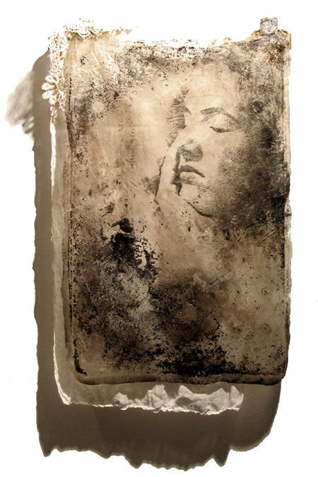 acrylic, carbon, image transfer, mixed media art - face - sally mankus