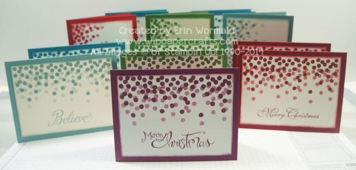 I created a dozen Christmas cards in less than an hour!  It's a really simple design that is perfect for mass producing and beginner stampers.  Individual photos of the cards can be found on my blog: http://wippapercrafts.com/2014/07/13/stamp-set-of-the-month-introducing-julys-set-and-playing-catch-up/  Thanks for taking a closer look! Erin.