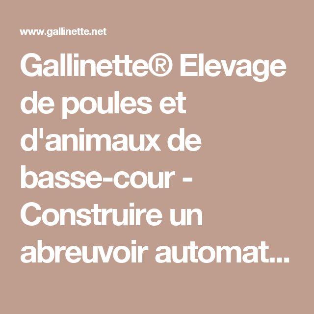 Gallinette® Elevage de poules et d'animaux de basse-cour - Construire un abreuvoir automatique pour poules