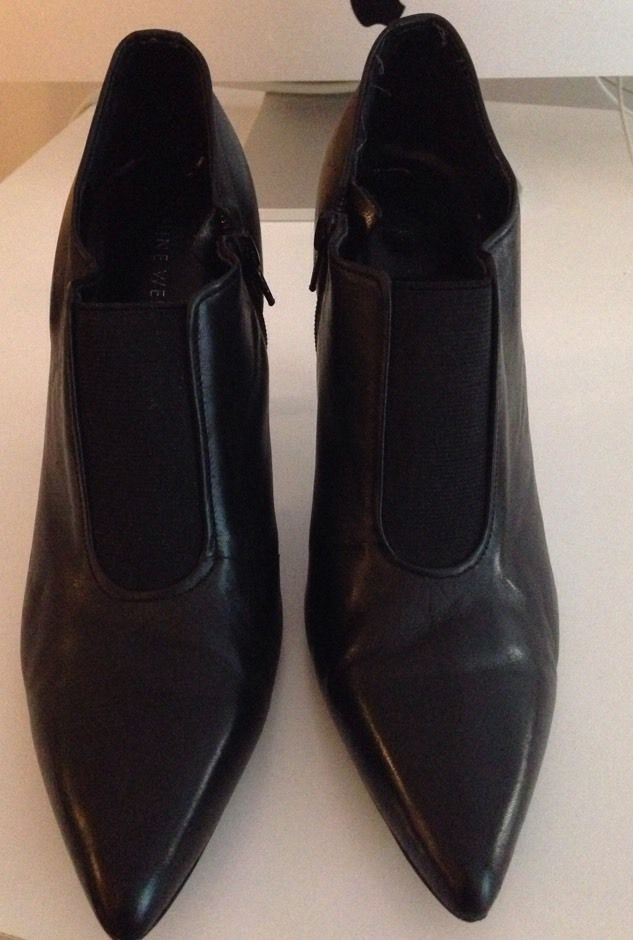 NINE WEST Womens Leather Bootie Black Size 9 Ankle Boots  | eBay