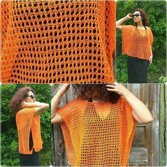 Orange Linen Poncho Summer Poncho Handknitted Poncho Loose