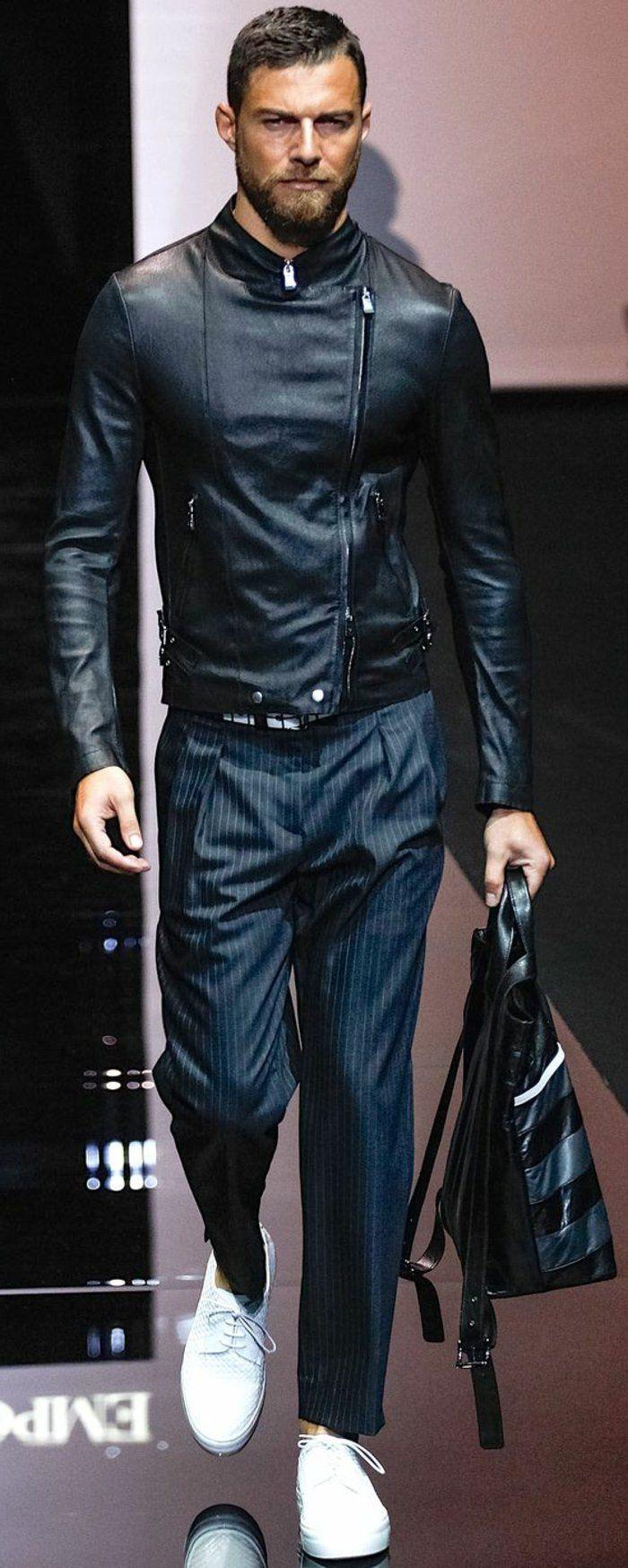 veste en cuir homme pas cher, pantalon elegant homme