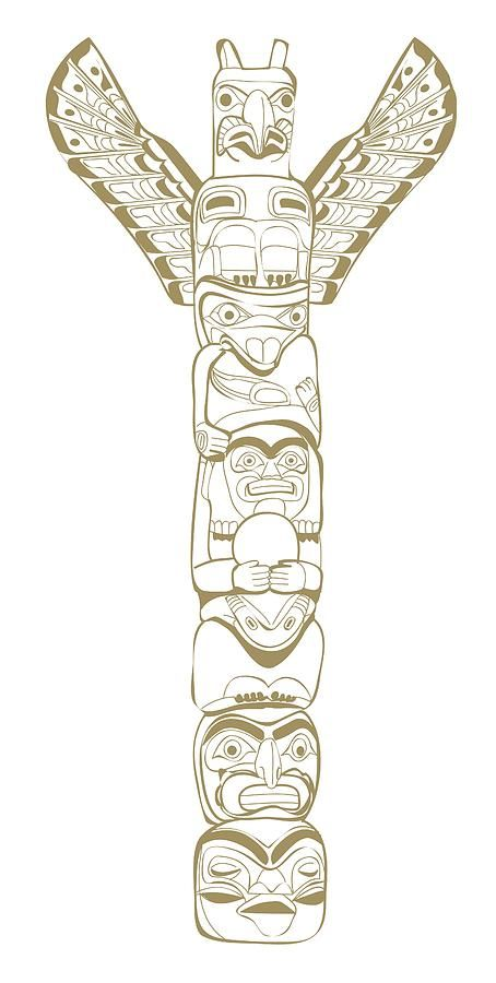 Digital Illustration Of North American Tribal Totem Pole Depicting Animals And Mythical Beings Digital Art