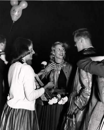 """Sylvia Plath at the Quadigras dance, Smith College, May 1954. Pictured left to right: Sunny Sturtevant, Sylvia Plath and her """"date"""", her brother Warren. This beautiful image was taken by D.I. Crossley, class of 1950, professional photographer."""