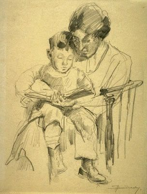 Mother and child by Eric Spencer Macky born November 16, 1880 in Auckland, New Zealand died 1958 in San Francisco (California), USA