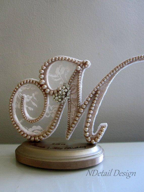 Wedding Cake Topper : Monogrammed Pearl Letter M with Engraving for Vintage or G