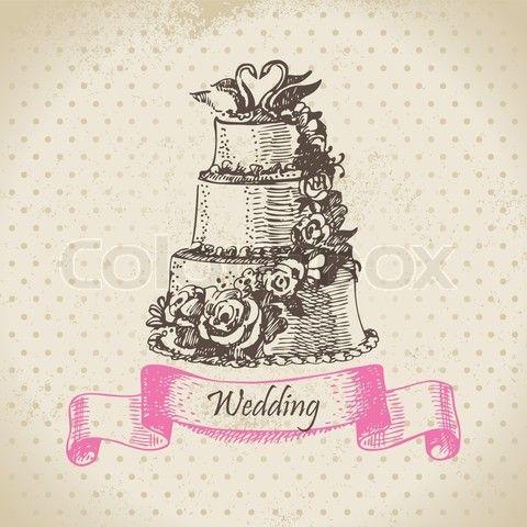 Wedding Illustrations | Cartoon Wedding Cake Vector Illustration Pictures