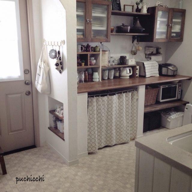 Kitchen 食器棚 エコバック入れ ビヨルク ポットホルダー 腰板 などのインテリア実例 2015 07 09 15 27 48 家づくり