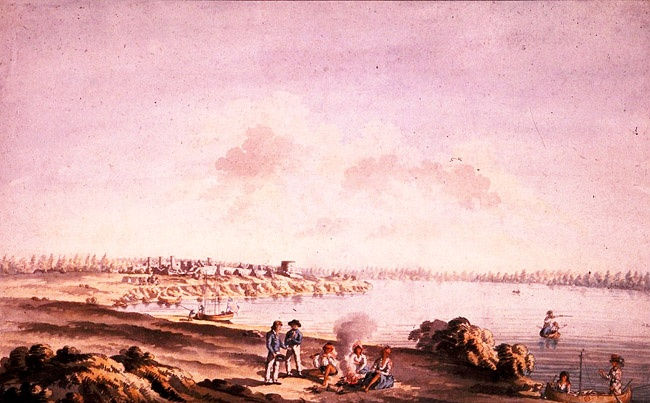 View of the ruins of the fort at Cataraqui, June 1783 by James Peachey. Library and Archives Canada C2031.