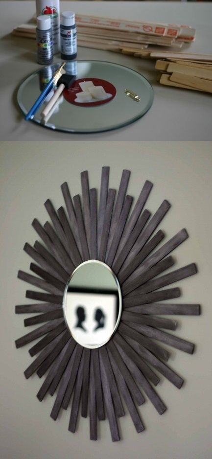 DIY Sunburst Wall Mirror Of Paint Sticks -- this would be neat in a bright color for Taylor's room