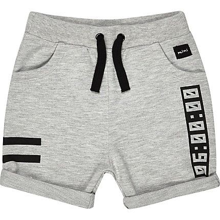 Mini boys grey jersey printed shorts $16.00