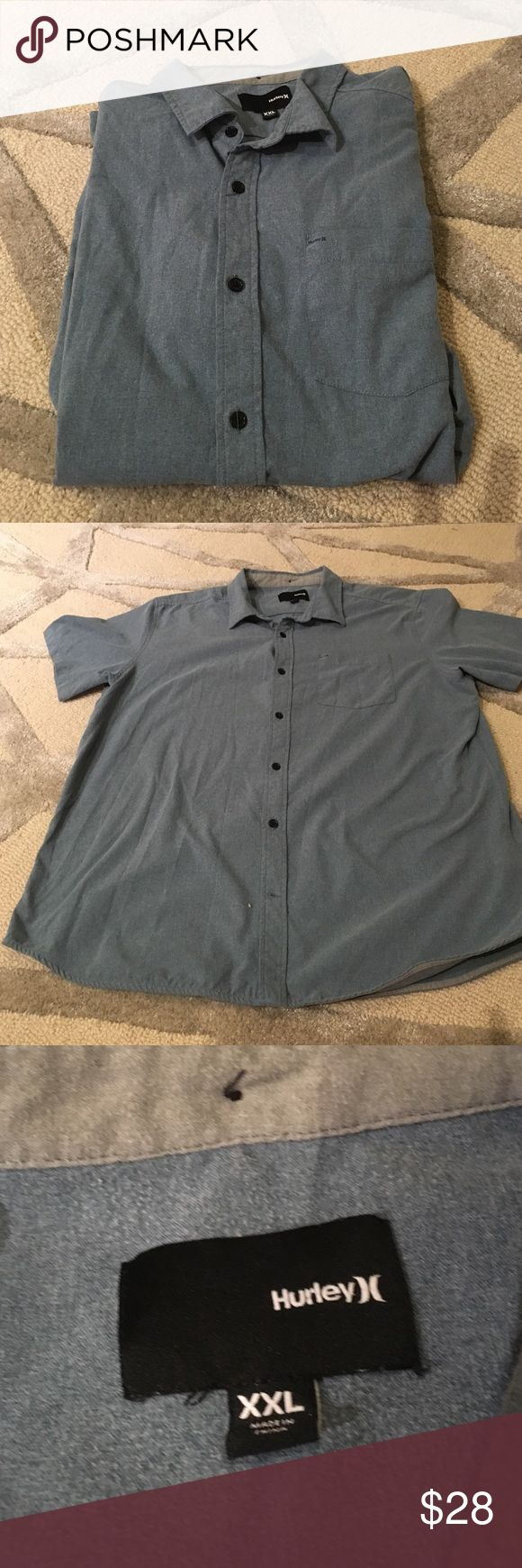 Hurley Men's Short Sleeved Button Down Shirt Hurley Men's Short Sleeved Button Down Shirt with Nike Dri Fit Technology to keep things cool and dry. Casual shirt with logo on front pocket. Please ask any questions. Open to offers. No trades. Hurley Shirts Casual Button Down Shirts