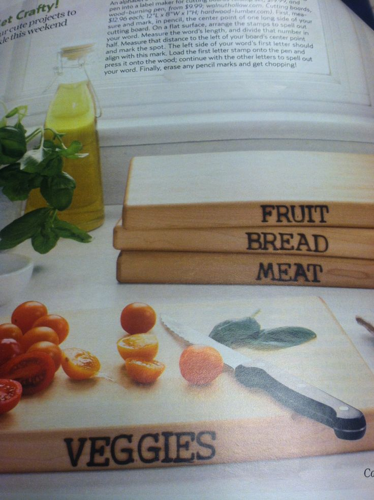 Love this idea to brand the different cutting boards with a wood burning pen. @Elizabeth Cassinos Living Magazine