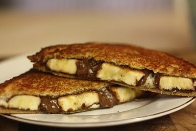 My breakfast tomorrow:  Grilled Banana Nutella Sandwich Tutorial