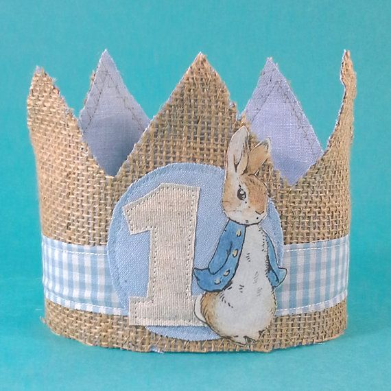 Shabby chic burlap and blue linen fabric first birthday crown with linen number 1, fabric Peter Rabbit and blue and white gingham stripe stripe.