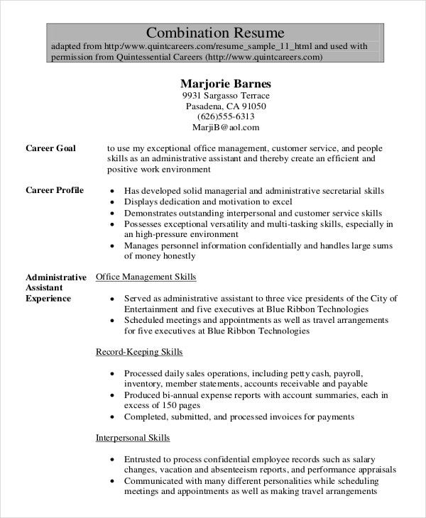 Resume Sample Administrative Assistant Administrative Assistant Resume Free Resume Samples Sample Resume Templates