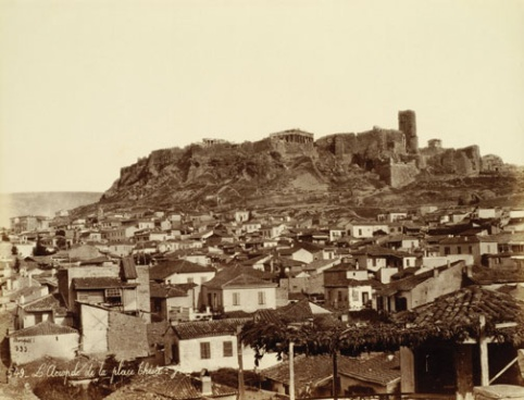 Sepia-tone prints of ancient monuments and Biblical sites in the Mediterranean, taken by renowned French photographer Félix Bonfils in the 1860s, 1870s, and 1880s.