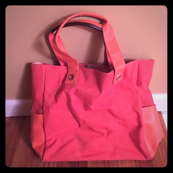 Orange tote bag Canvas tote bag! Flowers on inside.. Two side leather pockets ! Bags Totes