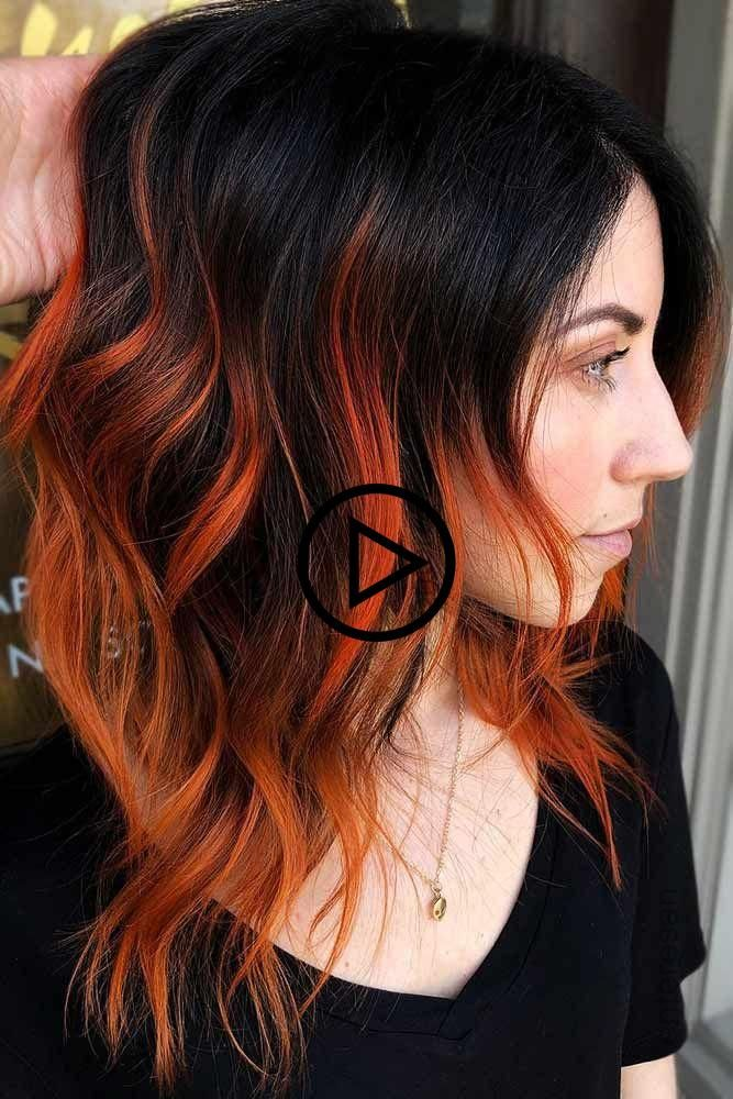 Feurige Orange Highlights Brunette Highlights Rothaar Konnen Sie Aus Schw Strahnchen Schwarze Haare Highlight Frisuren Haare Mit Highlights