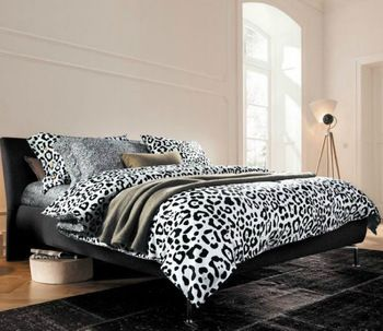 Black and white leopard print bedding set king queen size duvet cover bedspread quilt bed in a - Cheetah print queen comforter set ...