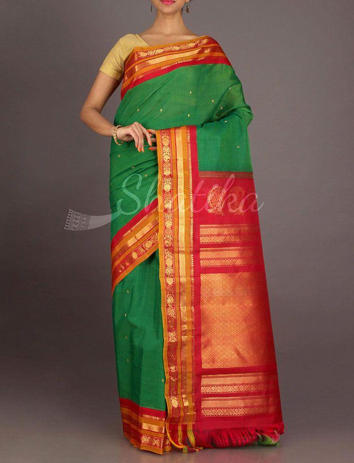 Jeeva Color And Gold Stripe Border Pure Gadwal Silk Cotton Saree