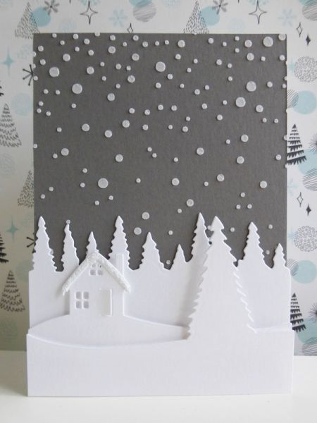 Christmas cottage scene - 2016-10-14 - koolkittymusings.typepad.com using Concord & 9th Christmas Cottage die set