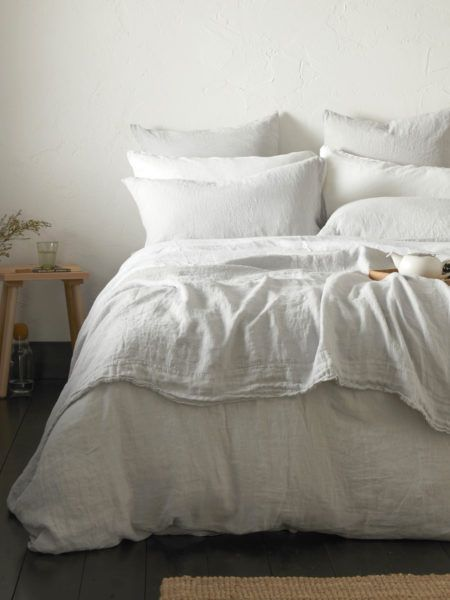 Pebble Grey Linen Duvet Cover Secret