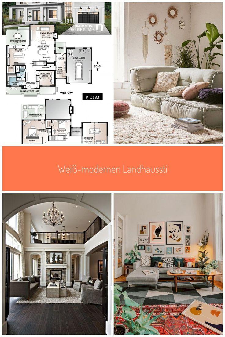 Wei modernen Landhausstil mit einer berdachten Veranda 4 Schlafzimmer modernen Bauernhof planen ...