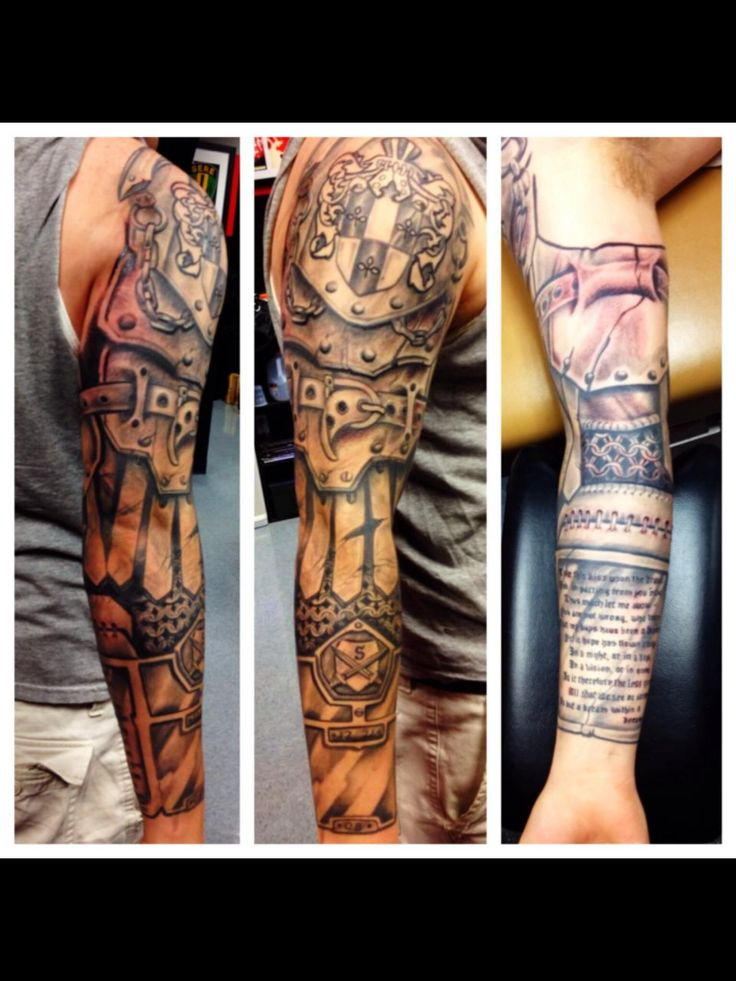 My hubby's awesome armor sleeve tattoo done by Greg Nicola @ Armored Ink Tattoo in Lake Elsinore CA.