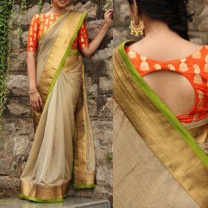 Pleasing Banglori Silk Weaving Work Designer Saree Online - Shopkio