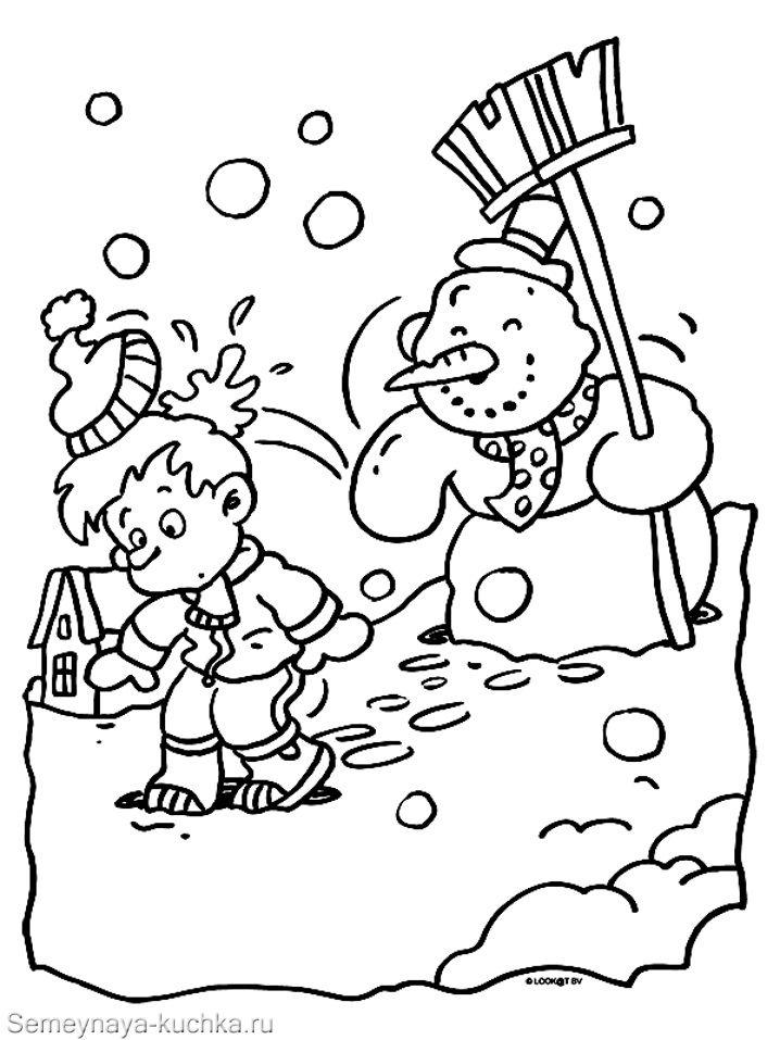 Раскраски Снеговик для детей распечатать бесплатно | 957x718