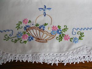 Sweet Pair of Vintage Embroidered Pillowcases Basket of Flowers Crocheted Lace | eBay