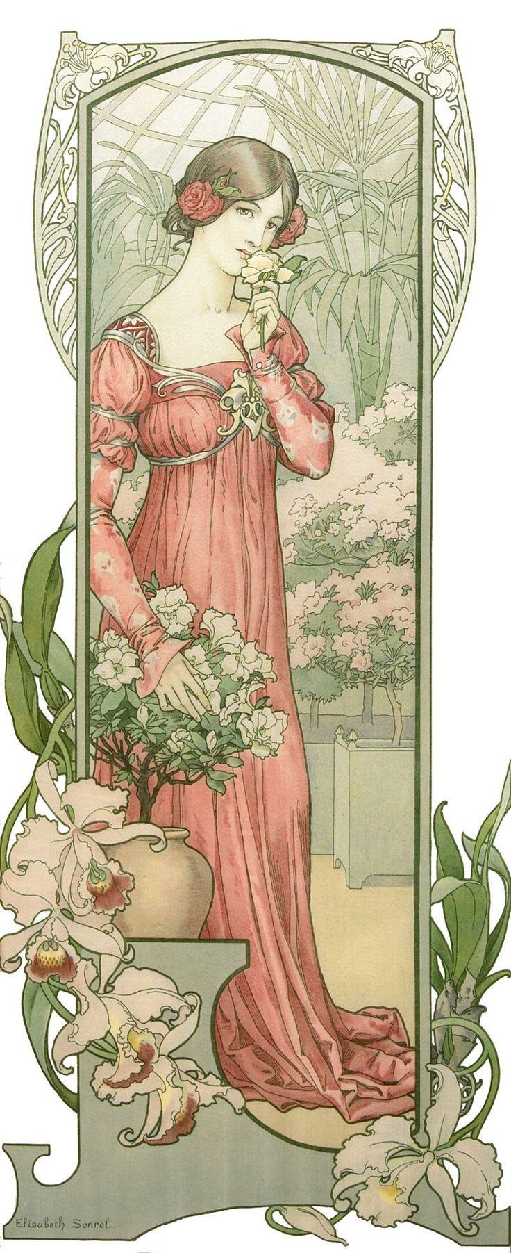 Fleurs des Serre (Greenhouse Flowers) - 1900 - by Elizabeth Sonrel (French, 1874-1953) - Art Nouveau Postcard - @~ Mlle                                                                                                                                                      Plus