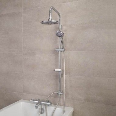 Focus Thermostatic Deck Mounted Bath Shower Mixer With Rail Kit Amp Mixers Taps Classic