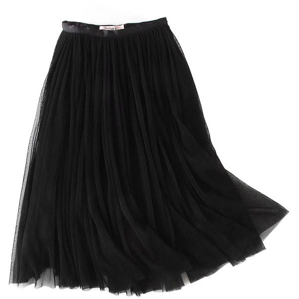 Black High Waist Overlay Mesh Pleated Skirt ($39) ❤ liked on Polyvore featuring skirts, zip skirt, high waist skirt, high-waisted skirt, high waisted knee length skirt and pleated skirt