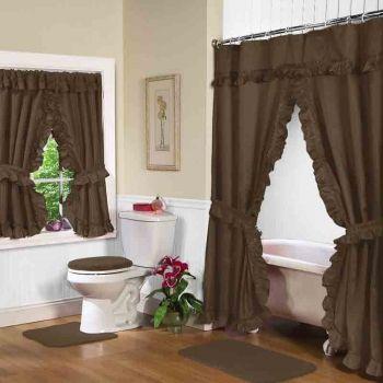 chocolate swag shower curtain w available window curtain bathroom valance