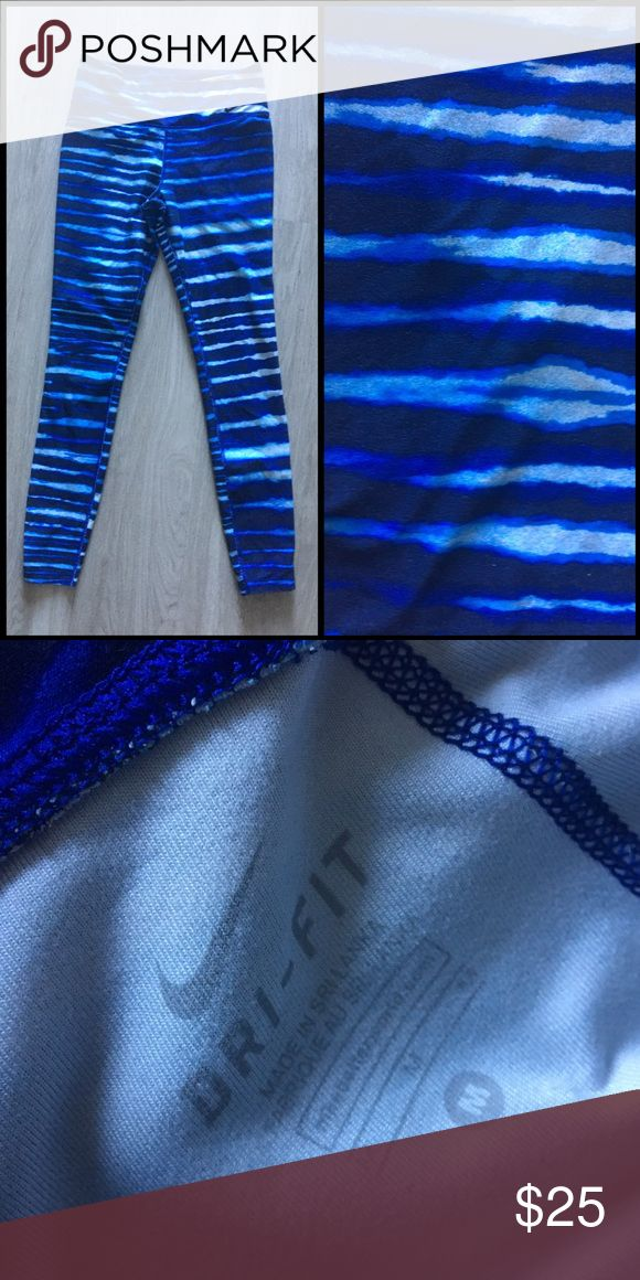 Nike Dry Fit Blue Striped Gym Leggings pants Nike Dry Fit Blue tiger Striped Gym Leggings pants, worn once or twice, size medium. Nike Pants
