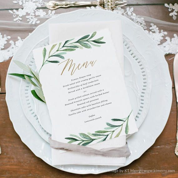 Greenery Wedding Menu Template Printable Menu Vintage
