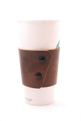 Brown EcoFriendly and Reusable Stoned Oil Leather Coffee Cup Sleeve with Snaps