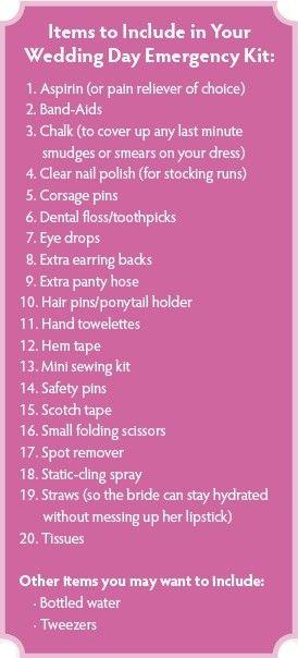 Wedding Day emergency kitIdeas, Kits Lists, Dreams, Stuff, Bridesmaid Present, Wedding Day, Brides Bags, Brides Presents, Emergency Kits