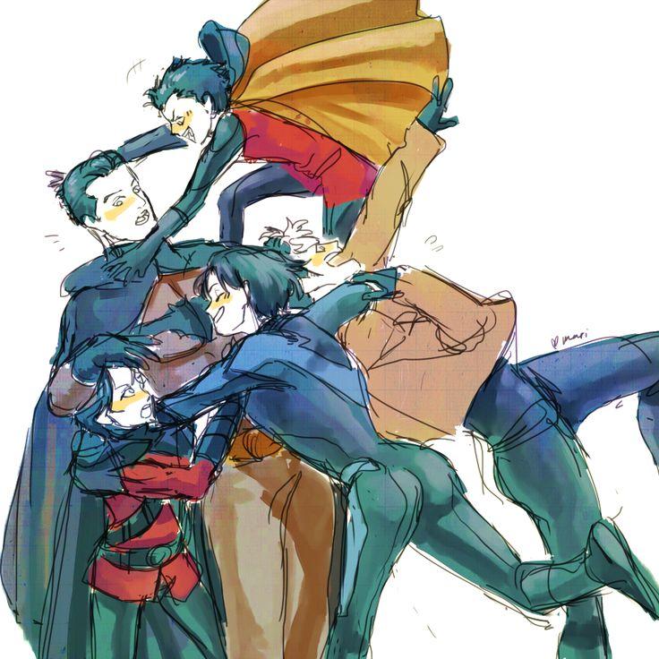 Batfamily. Batman, Nightwing, Red Hood, Red Robin, & Robin. <3